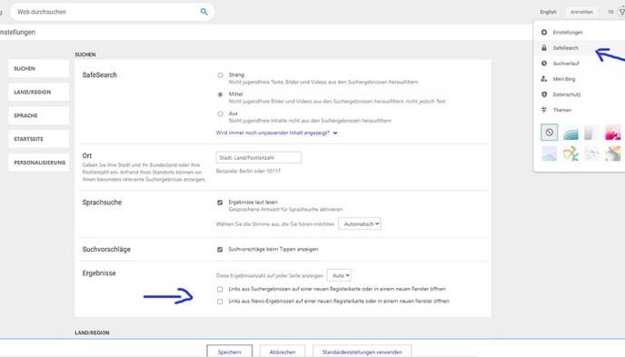Neuen Tab nach Bing Suche, Suchergebnisse deaktivieren, ausschalten