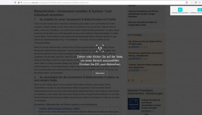 Bildschirmfoto, Screenshot mit Firefox machen