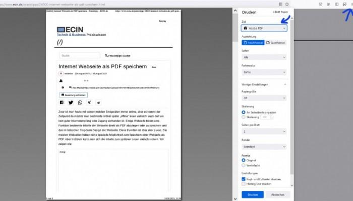 Internet Webseite als PDF speichern